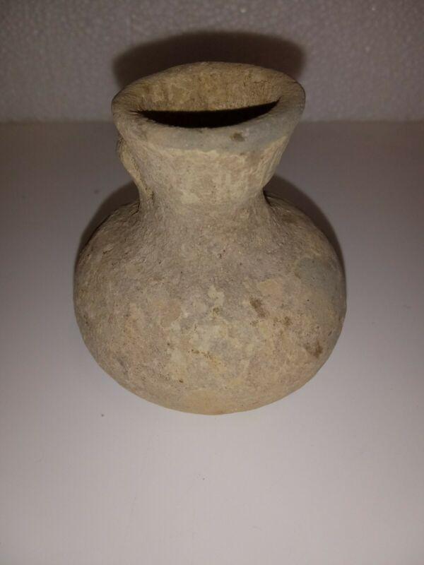 ANCIENT ETRUSCAN TERRACOTTA SMALL OIL JAR - 600 - 550 B.C.-