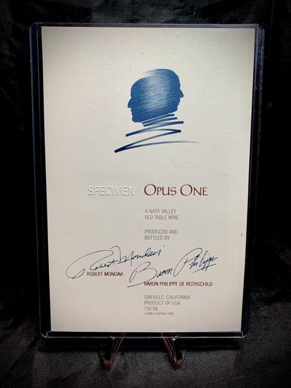 OPUS ONE Red Table Wine - Specimen Label - Mondavi & Rothschild
