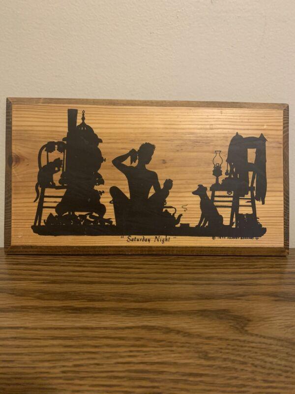 Harvey Bernard Saturday Night 1977 Wood Plaque Silhouette Style Ready To Hang