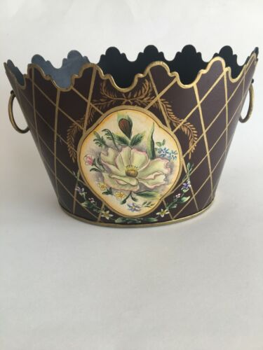 "Vintage Hand Painted Scalloped Edge Toleware Cachepot Planter 9.5"" Deep Brown"