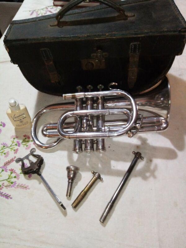 Vintage Salvation Army Nickel Cornet with case