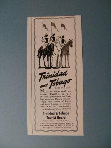 1952 TRINIDAD AND TOBAGO TOURIST BOARD TRAVEL PROMO ALES ART AD