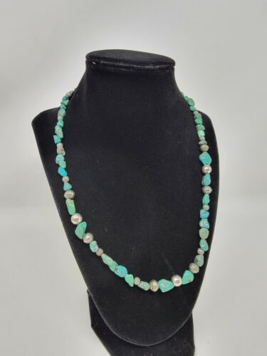 Carolyn Pollack 925 Relios Sterling Silver Turquoise Nugget Beaded Necklace YG21