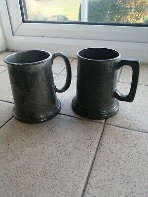 Antique Half Pint Pewter Mugs
