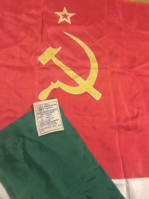 Authentic Big Flag Lithuania Lithuanian Soviet Socialist Republic USSR  1985