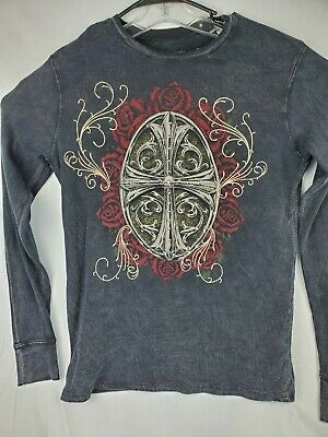 Affliction Mens Size M Thermal Henley Shirt Grey 100% Cotton Raw Edge Distressed
