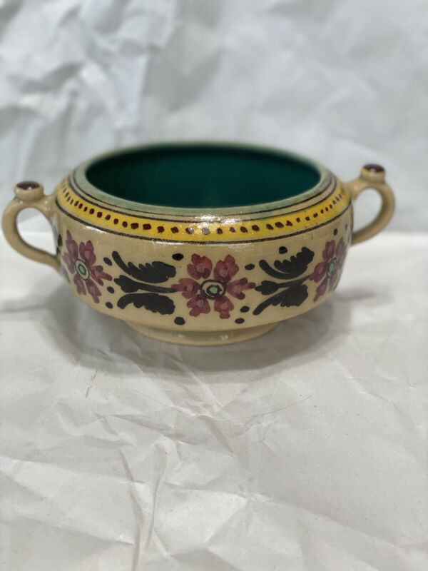 Vintage Middle Eastern / Persian Pottery Dish/Bowl with handles Signed (BA221)