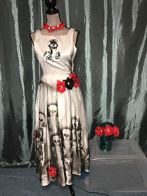 Day of the Dead gray dress COSTUME Halloween cosplay OOAK size 6 Mardi - Mardi Gra Costumes Female