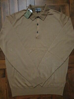 JOHN SMEDLEY BELPER Camel Merino Wool Polo Shirt Size Large NEW RRP £165 Defect