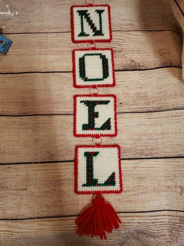 VINTAGE PLASTIC CANVAS  CHRISTMAS NOEL WALL DOOR HANGER HANGING FINISHED...