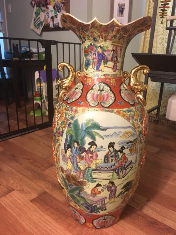 """vintage large Satsuma floor vase 31"""" tall"""