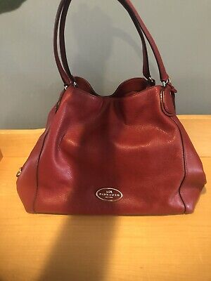 Coach Red Leather Handbag - 3 section, excellent used condition