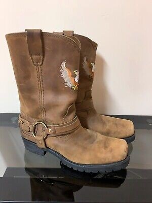 Men's Xelement Brown Leather Harness Motorcycle Western Boots Size 12