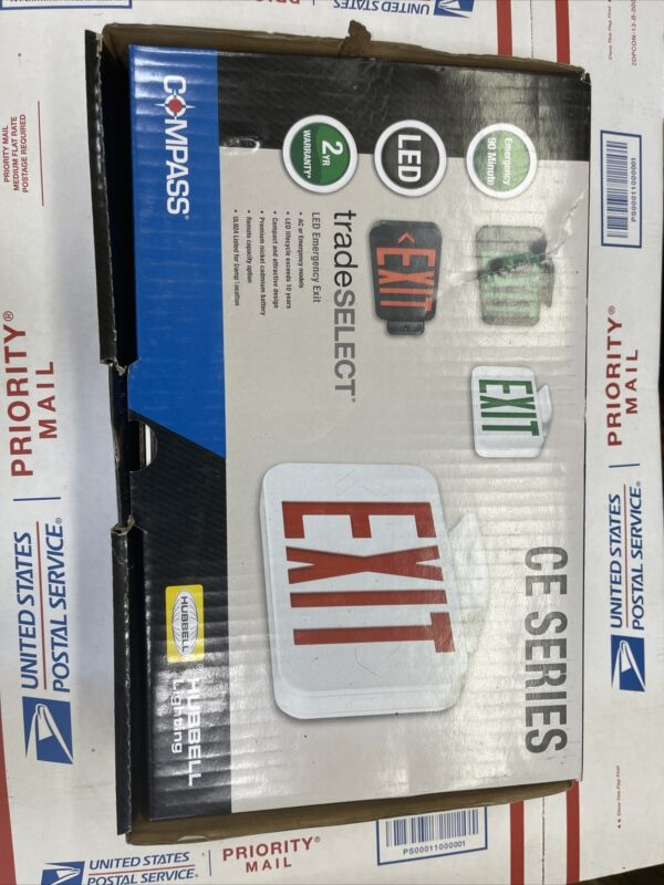 NEW- Hub bell Lighting Compass CER LED Emergency Exit Sign Red Letters