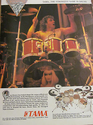 Joey Kramer, Aerosmith, Tama Drums, Full Page Vintage Promotional Ad