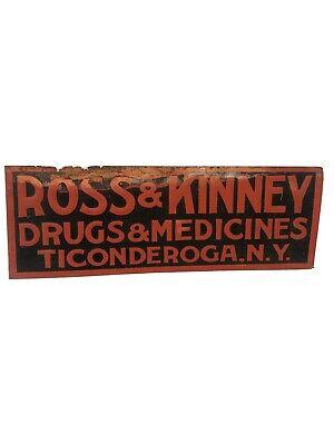"VINTAGE ORIGINAL DRUG STORE EMBOSSED SIGN ROSS & KINNEY TICONDEROGA NY 20""x7"""