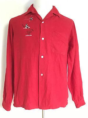 Rare Vintage 1950S Montgomery Ward Brent Sanforized Red Shirt Size Medium
