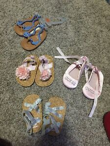 9 pair Baby girl 0-6 shoes