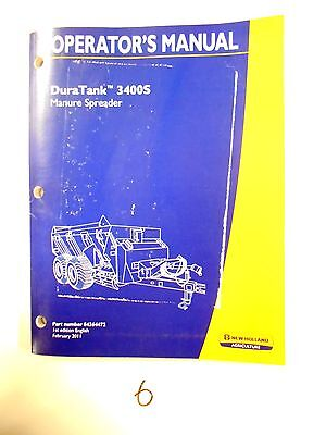 New Holland Duratank 3400s Manure Spreader Operators Owners Manual 211