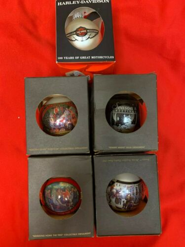 Lot of 5 HARLEY-DAVIDSON Limited Edition Christmas Ornaments Balls
