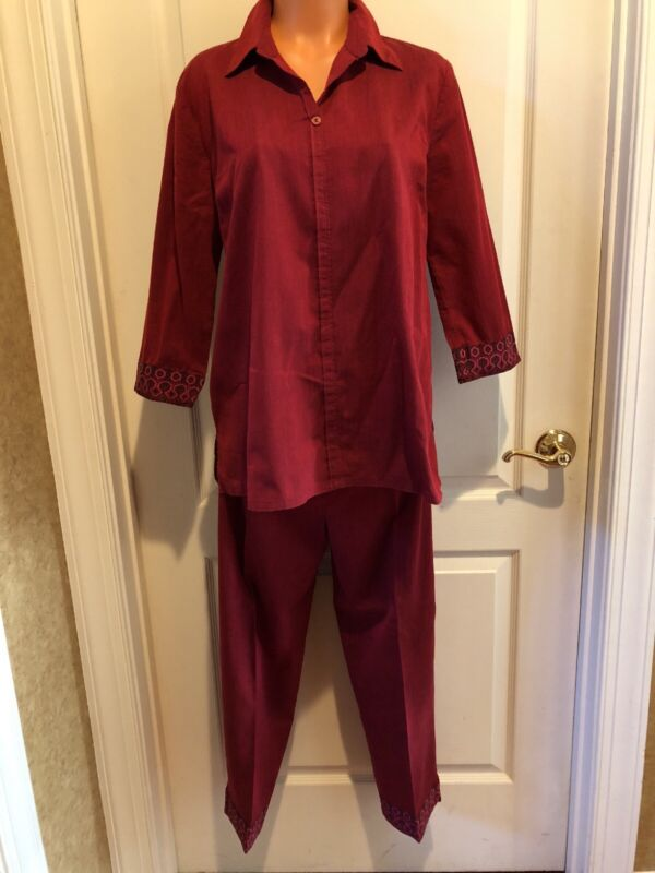 Macy's STEENA Maternity Red Shirt Pant Suit Set Lot Size S Small