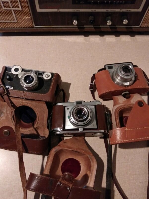 Vintage Argus Camera With Leather Case/Bantam RF/Kodak Retinette LOT 3 Cameras