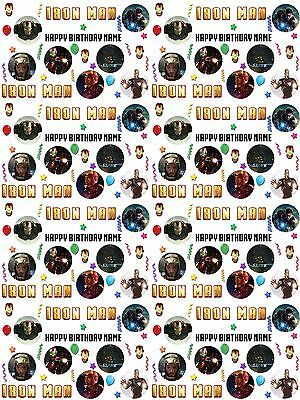 Iron Man Personalised Birthday Gift Wrapping Paper ADD NAME/S CHOOSE - Iron Man Wrapping Paper