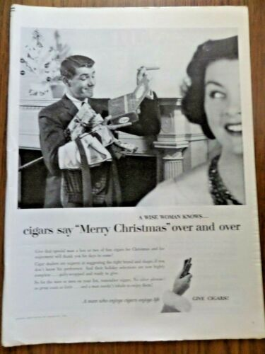 1957 Cigars Ad A Wise Woman Knows Cigars Say Merry Christmas Over & Over