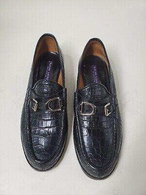 Ralph Lauren Collection Purple Label Black Croco Alligator Loafers Size 7