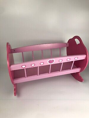 Girls Pink Baby Dolls Toy Cot Wooden Rocks Side To Side