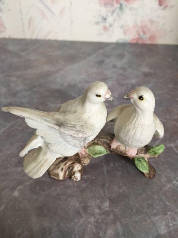 Vintage Bone China Figurine Pair Miniature Turtle Doves on Branch
