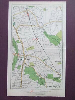 LONDON N.FINCHLEY WHETSTONE NEW BARNET  VINTAGE STREET MAP DATED 1936 12x7