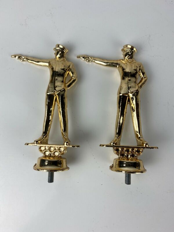 Vintage Gold Metal Officer Pointing Revolver Pistol Trophy Topper. Lot Of 2