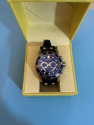 Invicta Men's Watch 6983 Pro Diver Scuba Gold Plate Blue Dial Chronograph Steel