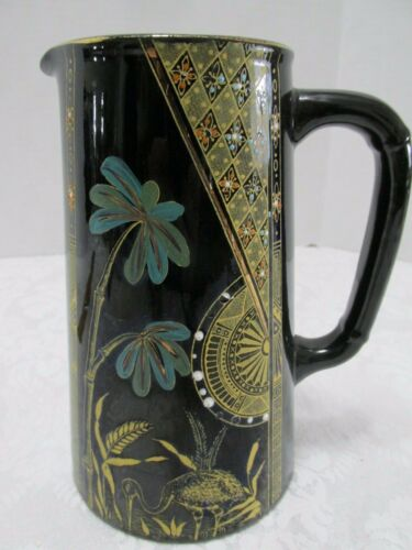 PITCHER PALM 19c English Black Ceramic Gold & Enamel Art Deco Motifs Egret Trees