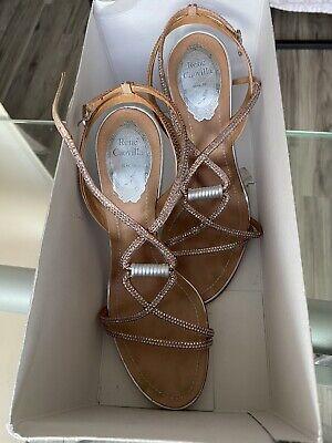 $1155 Authentic Rene Caovilla Rose Gold Sparkling Sandals 38