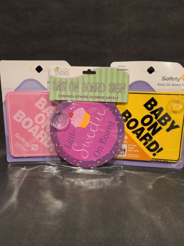 """Two Safety 1st and One Baby Studio """"Baby On Board!""""  Signs Lot Brand New!!"""