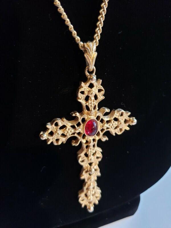 """Vintage Avon Large Cross Pendant Necklace Gold Tone Faux Ruby Chain 24"""" Elegant"""