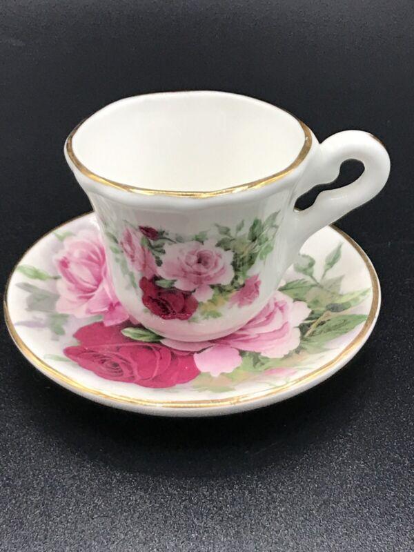 BC Staffordshire Bone China Miniature Tea Cup Saucer Set Gold Trim Pink Floral