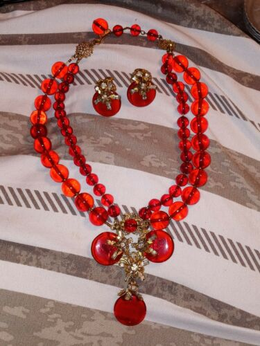 Vintage Signed Miriam Haskell Red Gripoix Glass Beads Necklace Earrings Set - $668.00