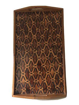 Vintage Inlaid Wooden Tray Moroccan Thuya Wood