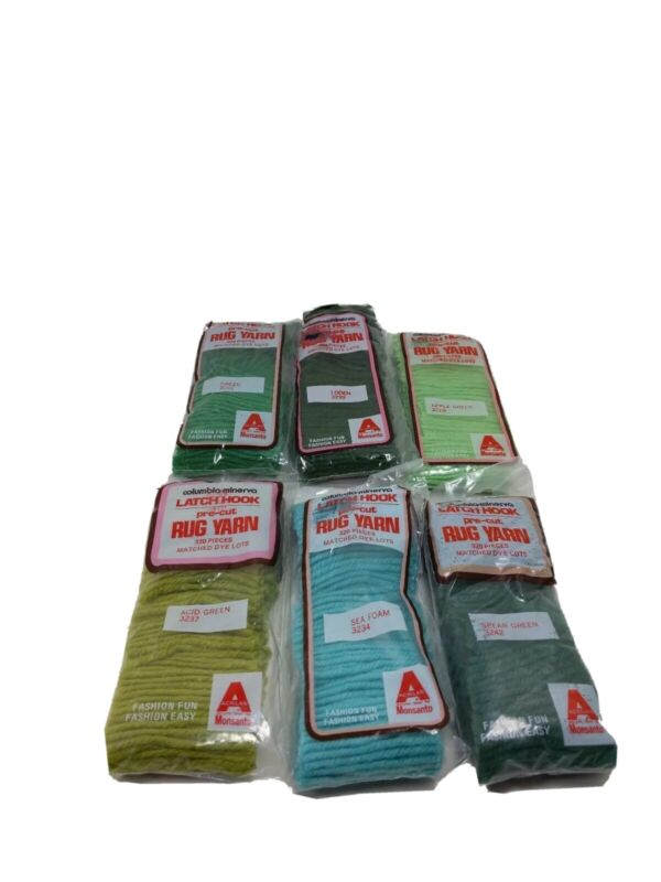 Columbia Minerva Latch Hook Precut Rug Yarn Acrylic Greens 6 packs  cm g
