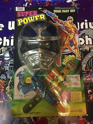 NEW KO Vintage Sentai Power Rangers Super Power Toy Gun Weapon & Blue Mask
