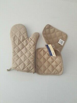 Lite brown Kitchen Picnic  Pot Holder Oven Mitt Set Baking Hot 2 Pads 1Glove