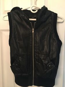 Women's black leather vest with hood