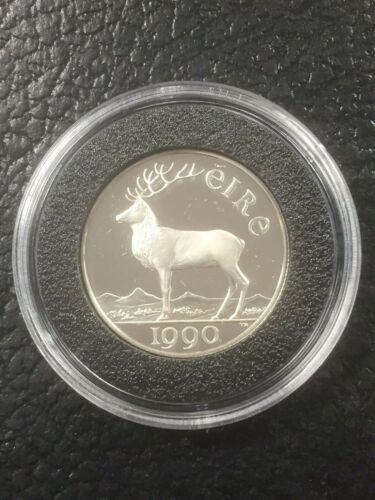 IRELAND  EIRE 5 ECU 1990 Silver Proof-  ELK & HARP