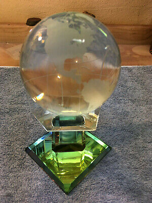 Crystal Etched Spinning Globe Paperweight on Iridized Stand - Spinning Globe