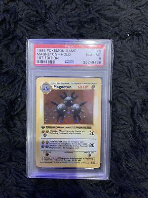Pokemon 1999 Base Set 1st Edition Shadowless Magneton #9 Holo PSA 8 Card RARE
