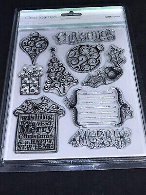 KaiserCraft Scrapbook clear stamp set - Doodled Christmas tree sentiment baubles