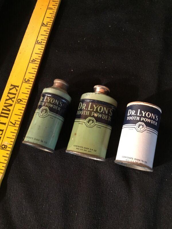 Vintage Salesman Sample Collection Dr Lyons Tooth Powder Tins Dentistry